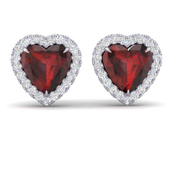 2.22 ctw Garnet & Micro Pave Diamond Earrings Heart 14k White Gold - REF-38X2A