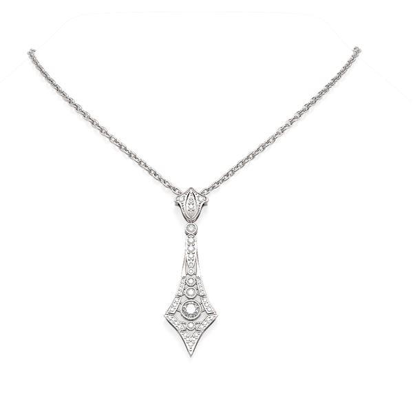 1.64 ctw Diamond Necklace 18K White Gold - REF-224K9Y