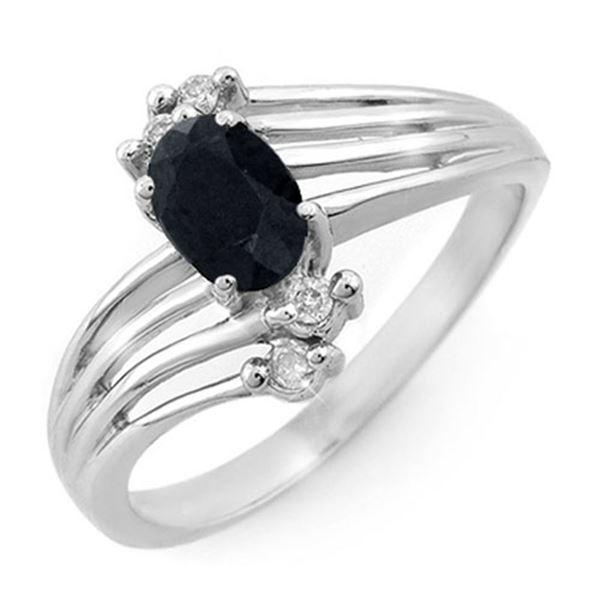 0.65 ctw Blue Sapphire & Diamond Ring 18k White Gold - REF-28F8M