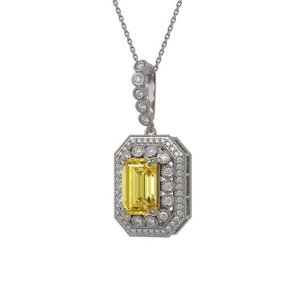 5.82 ctw Canary Citrine & Diamond Victorian Necklace 14K White Gold - REF-172R8K