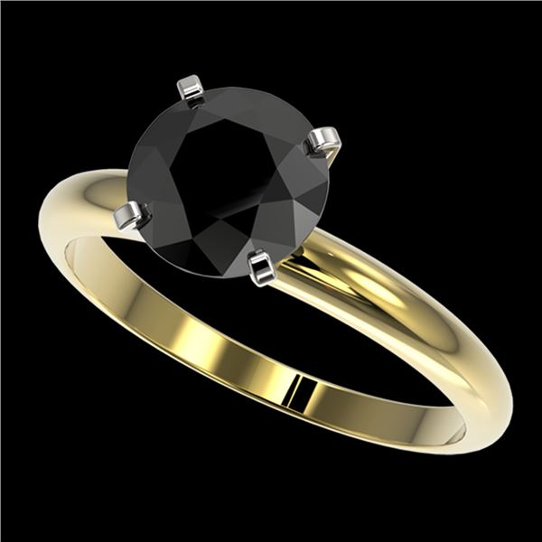 2.09 ctw Fancy Black Diamond Solitaire Engagment Ring 10k Yellow Gold - REF-35M6G