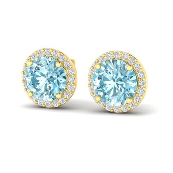 4 ctw Sky Blue Topaz & Halo VS/SI Diamond Micro Earrings 18k Yellow Gold - REF-46F5M