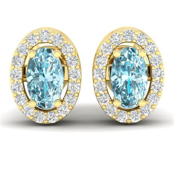 0.80 ctw Sky Blue Topaz & Micro Pave Diamond Earrings 18k Yellow Gold - REF-25W9H