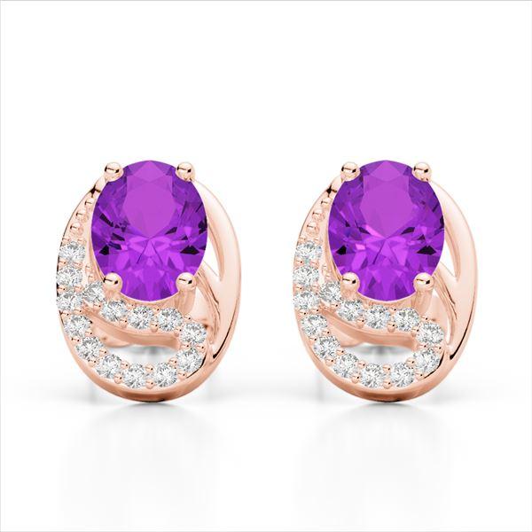 2.50 AMEHYST & Micro Pave VS/SI Diamond Stud Earrings 10k Rose Gold - REF-25H9R