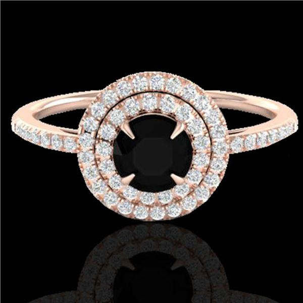 1 ctw Micro Pave VS/SI Diamond Solitaire Ring Halo 14k Rose Gold - REF-49N2F