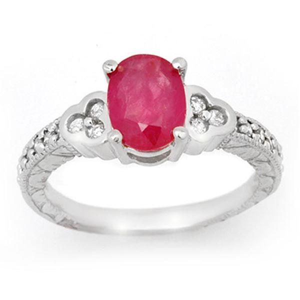 2.31 ctw Ruby & Diamond Ring 18k White Gold - REF-75X5A