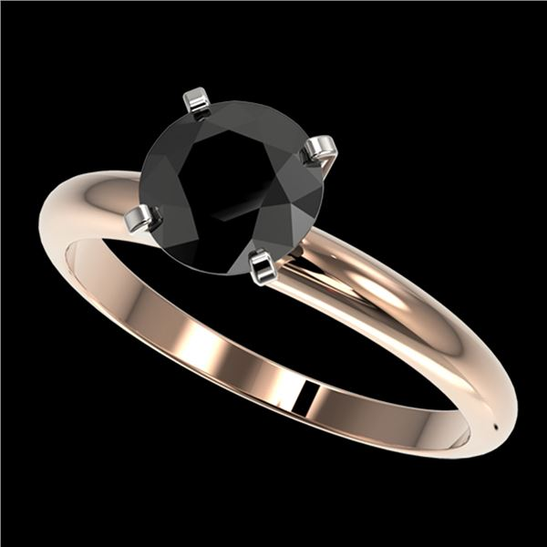 1.50 ctw Fancy Black Diamond Solitaire Engagment Ring 10k Rose Gold - REF-39N3F