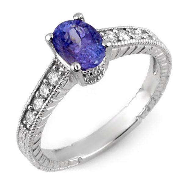 1.25 ctw Tanzanite & Diamond Ring 18k White Gold - REF-53Y5X