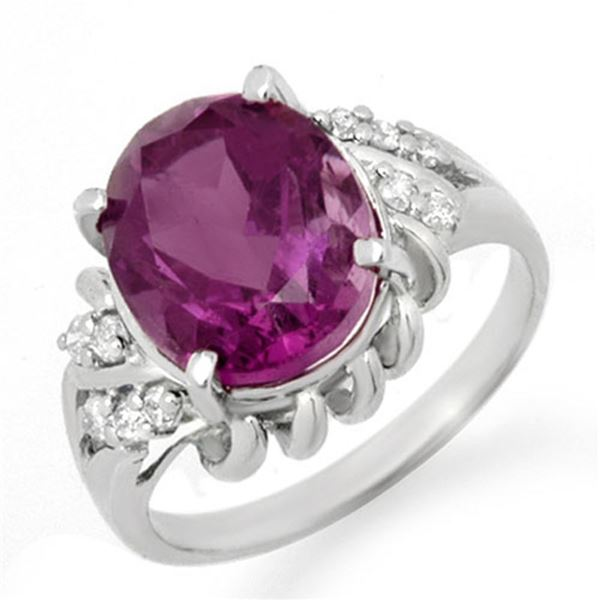 3.21 ctw Amethyst & Diamond Ring 10k White Gold - REF-19H6R