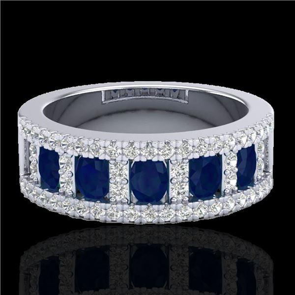 2.34 ctw Sapphire & Micro Pave VS/SI Diamond Ring 10k White Gold - REF-48X2A