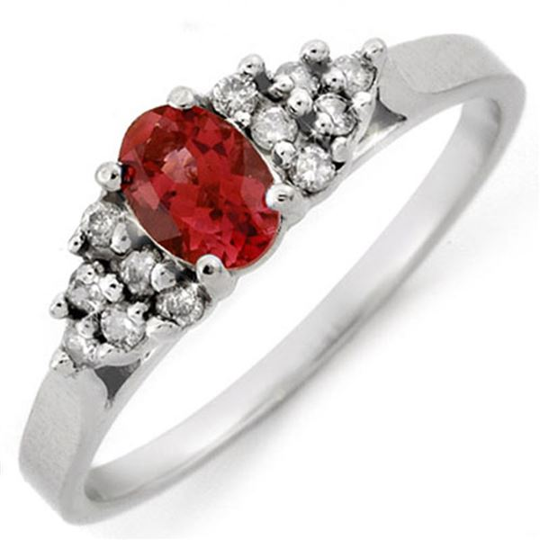 0.74 ctw Pink Tourmaline & Diamond Ring 18k White Gold - REF-30N2F