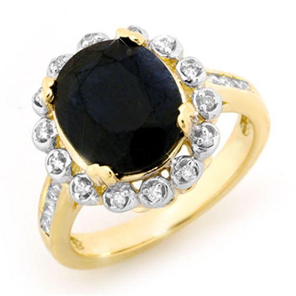 5.33 ctw Blue Sapphire & Diamond Ring 10k Yellow Gold - REF-72Y8X