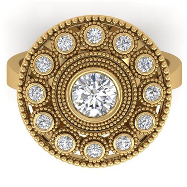 0.91 ctw Certified VS/SI Diamond Art Deco Ring 14k Yellow Gold - REF-160H2R
