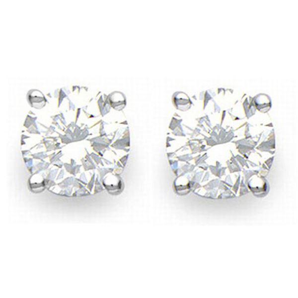 1.0 ctw Certified VS/SI Diamond Stud Earrings 18k White Gold - REF-95G8W