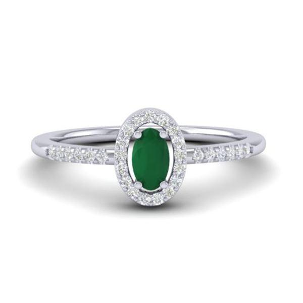 0.56 ctw Emerald & Micro Pave VS/SI Diamond Ring 18k White Gold - REF-23N5F