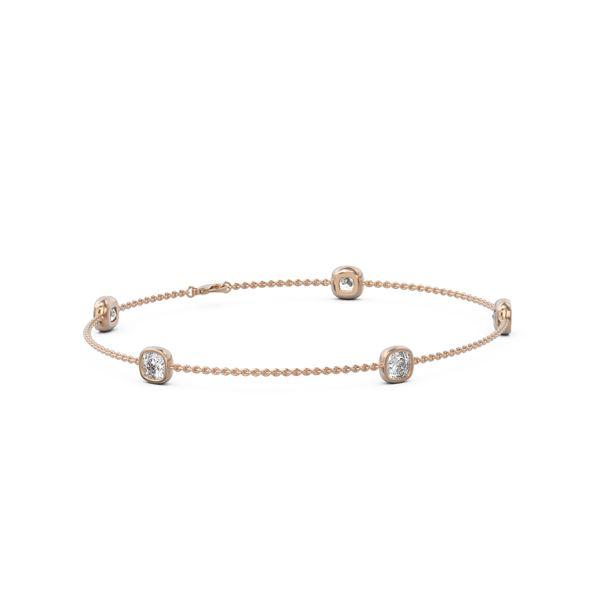 1.65 ctw Cushion cut Diamond Station Bracelet 18K Rose Gold - REF-282R8K