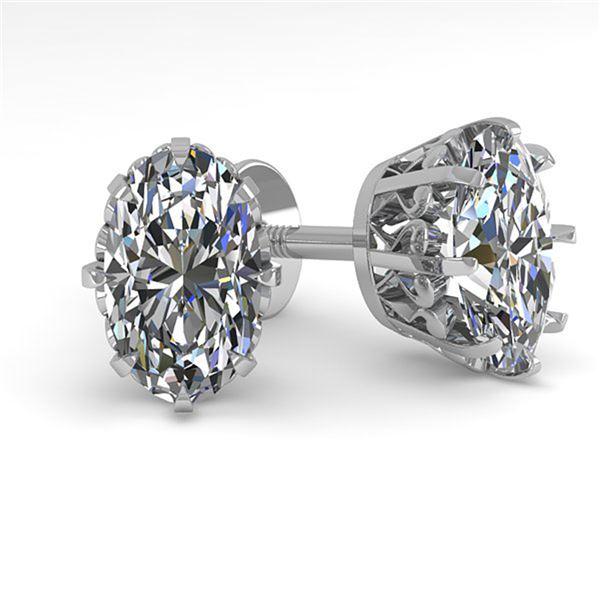 1.0 ctw VS/SI Oval Cut Diamond Stud Solitaire Earrings 18k White Gold - REF-147M2G