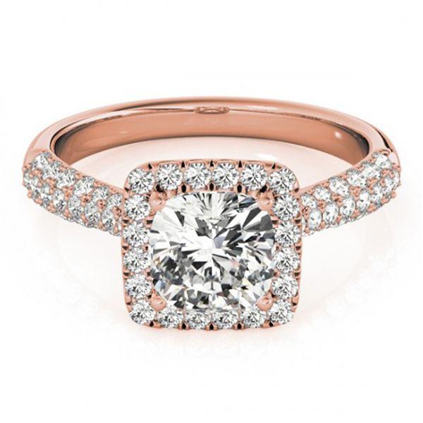 1 ctw Certified VS/SI Cushion Diamond Halo Ring 18k Rose Gold - REF-115H9R