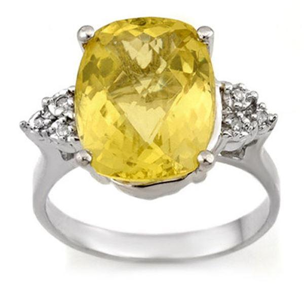 6.10 ctw Lemon Topaz & Diamond Ring 10k White Gold - REF-23F9M