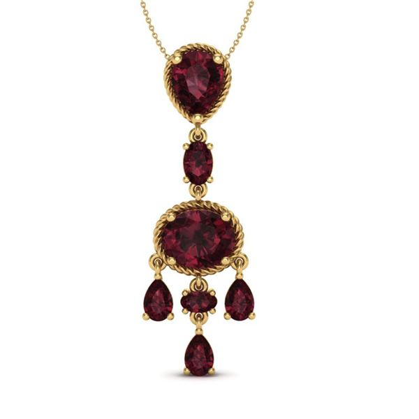 8 ctw Garnet Necklace Designer Vintage 10k Yellow Gold - REF-25H8R