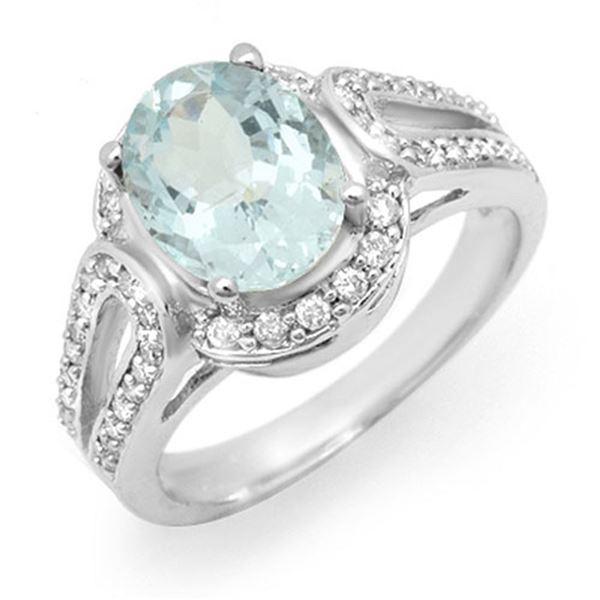 2.50 ctw Aquamarine & Diamond Ring 10k White Gold - REF-54X4A