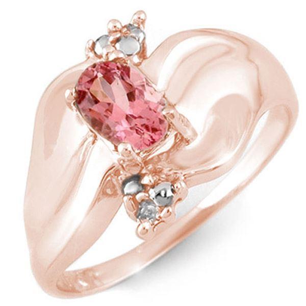 0.54 ctw Pink Tourmaline & Diamond Ring 10k Rose Gold - REF-18A2N