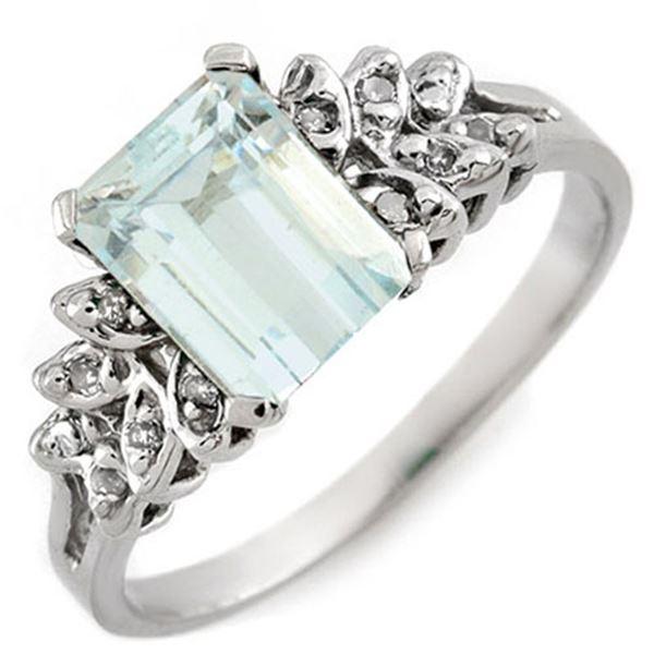 2.12 ctw Aquamarine & Diamond Ring 10k White Gold - REF-20X2A