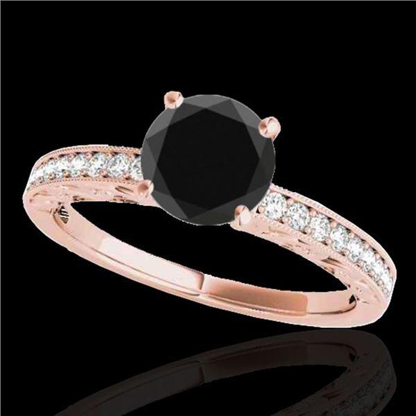 1.43 ctw Certified VS Black Diamond Solitaire Antique Ring 10k Rose Gold - REF-40W8H