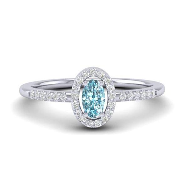 0.50 ctw TOPAZ & Micro Pave VS/SI Diamond Ring 18k White Gold - REF-23K5Y