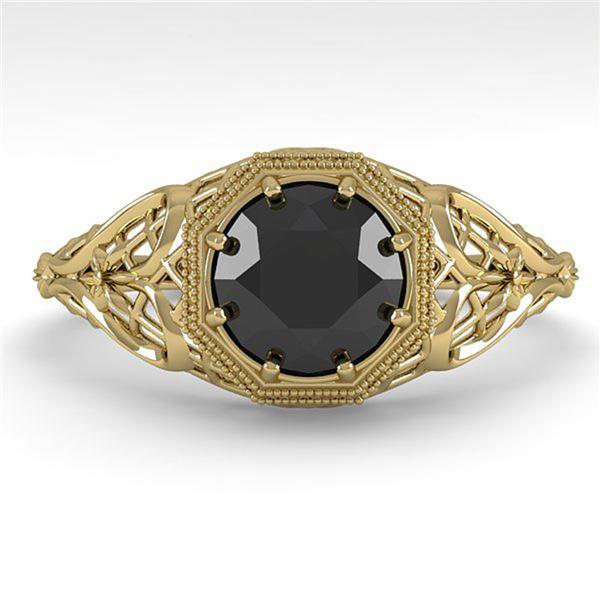 1.0 ctw Black Certified Diamond Ring Art Deco 14k Yellow Gold - REF-35H2R
