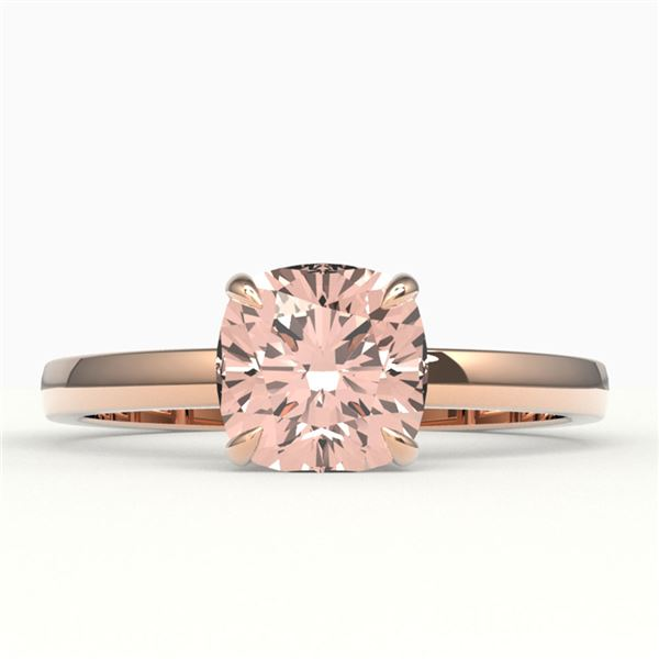 1.50 ctw Cushion Cut Morganite Solitaire Engagment Ring 14k Rose Gold - REF-24A8N