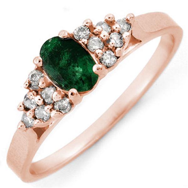 0.74 ctw Emerald & Diamond Ring 14k Rose Gold - REF-15K8Y