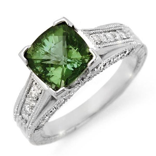 3.0 ctw Green Tourmaline & Diamond Ring 18k White Gold - REF-103A3N