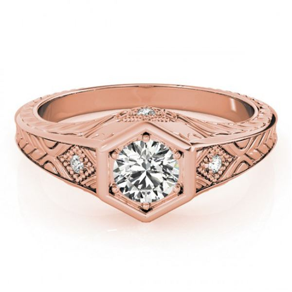 0.4 ctw Certified VS/SI Diamond Solitaire Antique Ring 14k Rose Gold - REF-46F4M