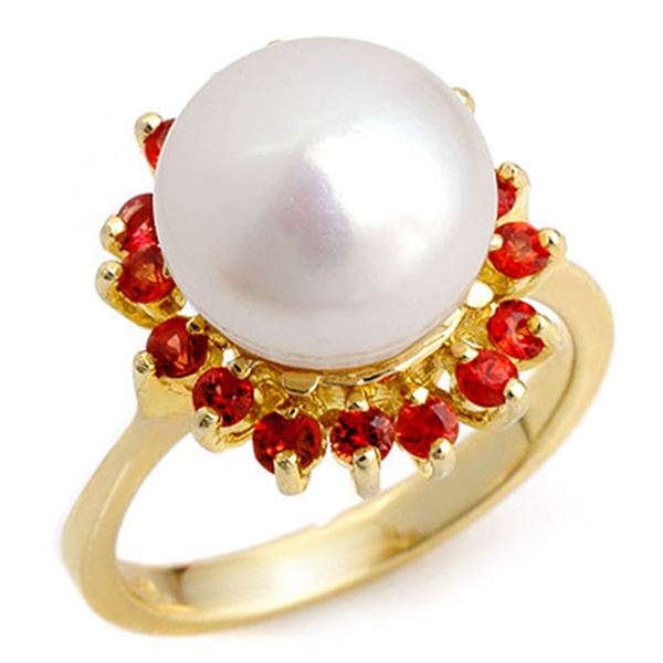 0.75 ctw Red Sapphire Ring 10k Yellow Gold - REF-21X3A