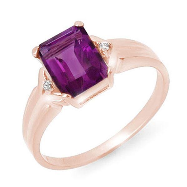 1.47 ctw Amethyst & Diamond Ring 18k Rose Gold - REF-19H3R