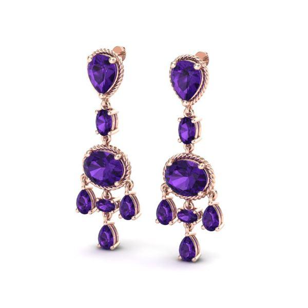 16 ctw Amethyst Earrings Designer Vintage 10k Rose Gold - REF-44H2R