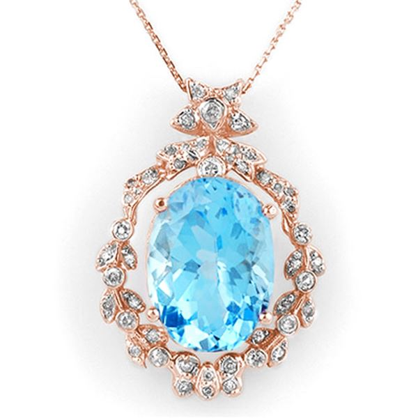 18.80 ctw Blue Topaz & Diamond Necklace 14k Rose Gold - REF-104K8Y