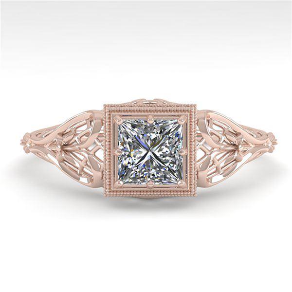 0.50 ctw VS/SI Princess Diamond Engagment Ring Art Deco 18k Rose Gold - REF-113Y8X
