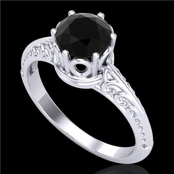 1 ctw Fancy Black Diamond Engagment Art Deco Ring 18k White Gold - REF-40K9Y