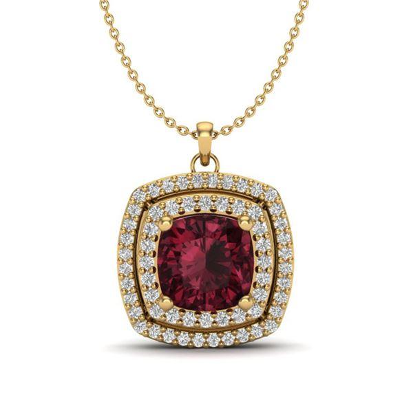 2.27 ctw Garnet & Micro Pave VS/SI Diamond Necklace 18k Yellow Gold - REF-49K2Y