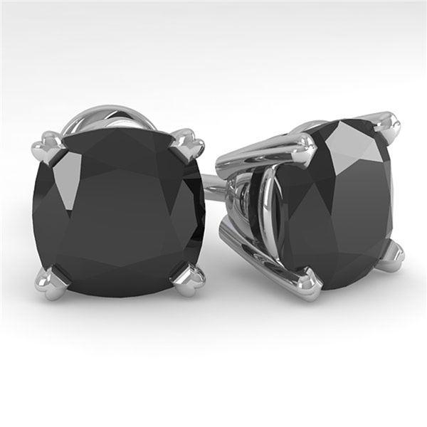 6 ctw Cushion Black Diamond Stud Designer Earrings 14k White Gold - REF-115G8W