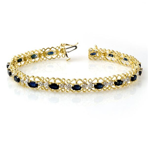 7.02 ctw Blue Sapphire & Diamond Bracelet 10k Yellow Gold - REF-53F5M