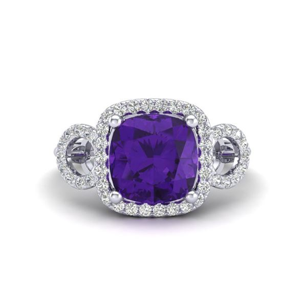 3.75 ctw Amethyst & Micro VS/SI Diamond Certified Ring 18k White Gold - REF-51M2G