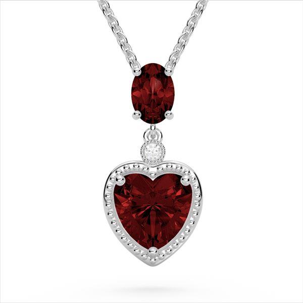 4 ctw Garnet & VS/SI Diamond Designer Heart Necklace 10k White Gold - REF-21H3R