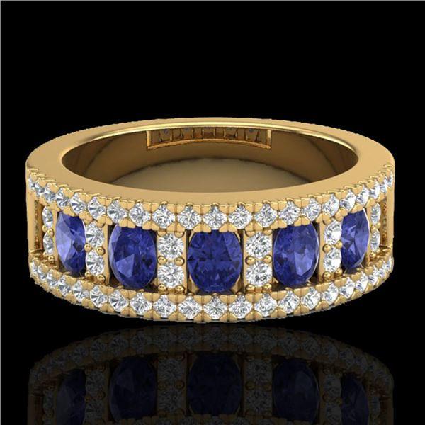 1.75 ctw Tanzanite & Micro Pave VS/SI Diamond Ring 10k Yellow Gold - REF-48M5G