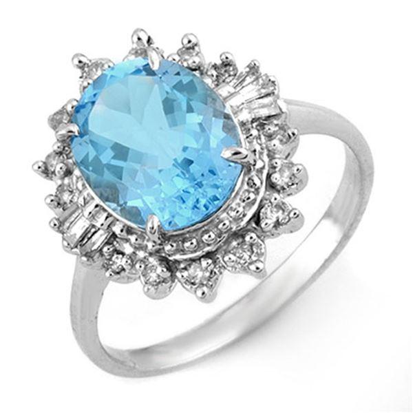 3.95 ctw Blue Topaz & Diamond Ring 18k White Gold - REF-47X2A