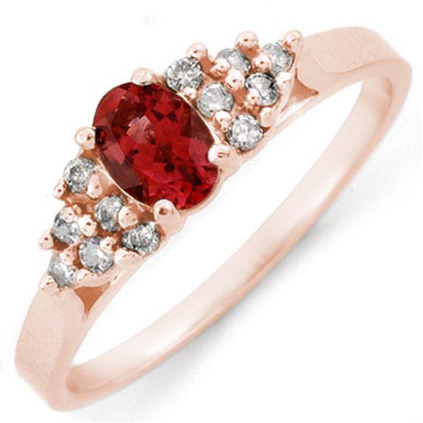 0.74 ctw Pink Tourmaline & Diamond Ring 14k Rose Gold - REF-20R3K