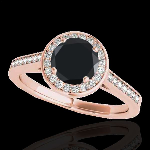 1.33 ctw Certified Black Diamond Solitaire Halo Ring 10k Rose Gold - REF-47G8W