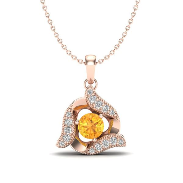 0.40 ctw Citrine & Micro Pave VS/SI Diamond Necklace 14k Rose Gold - REF-19G2W